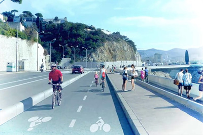 A bike path with sea view